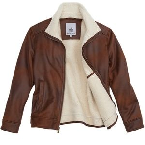 RAINFOREST Faux Suede Shearling Hipster Jacket NWT